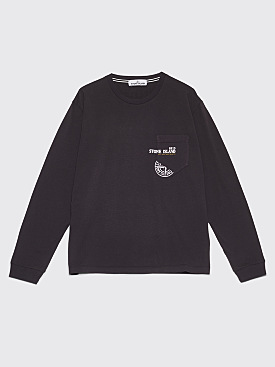Stone Island Clipart Long Sleeve Pocket T-Shirt Charcoal
