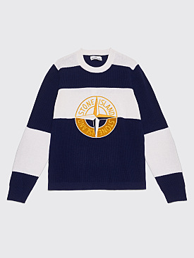Stone Island Knitted Stripe Logo Sweater Ink / White