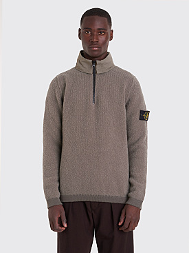 Stone Island Knitted Wool Half Zip Sweater Olive