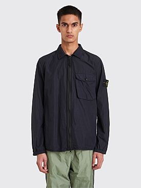 Stone Island Zip Cotton Nylon Overshirt Navy Blue