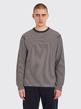 Stone Island Marina Logo LS T-shirt Stripe Grey