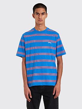Stüssy Double Stripe Crew T-Shirt Blue