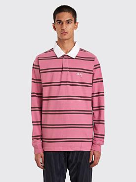 Stüssy Desmond Stripe Rugby Shirt Pink