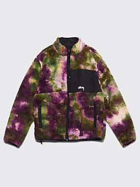 Stüssy Reversible Micro Fleece Jacket Tie Dye Purple