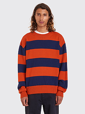 Très Bien Drop Shoulder Knit Stripe Merino Wool Blue / Orange