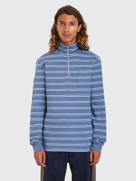 Très Bien Half Zip Sweatshirt Stripe Dusty Blue / Pale Blue