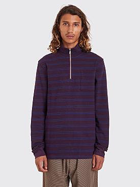 Très Bien Half Zip Sweatshirt Stripe Plum / Navy
