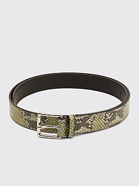 Très Bien Leather Belt Snake Atheris Green