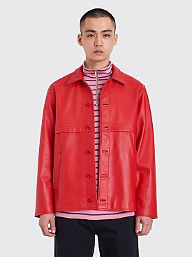 Très Bien Leather Blouson Jacket Red