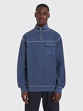 Très Bien Half Zip Reversed Loopback Sweatshirt Orion Blue