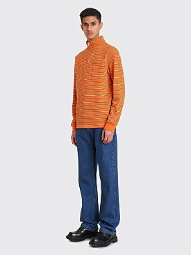 Très Bien Half Zip Sweatshirt Stripe Orange