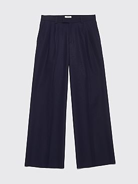 Très Bien Volume Pants Tropical Wool Dark Blue