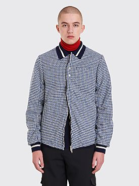 Undercover Ruched Houndstooth Bomber Jacket Blue