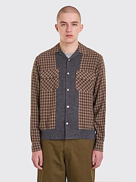 Undercover Ribbed Panel Shirt Brown Checks