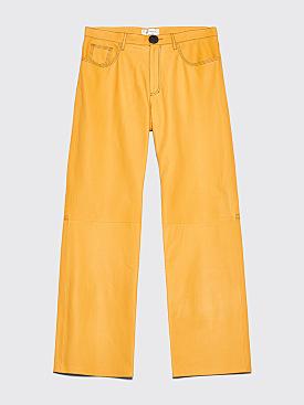 Wales Bonner Lambskin Leather Jeans Mustard