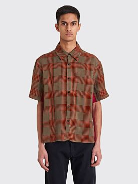 Wales Bonner Short Sleeve Pocket Shirt Checkered Khaki / Fuschia