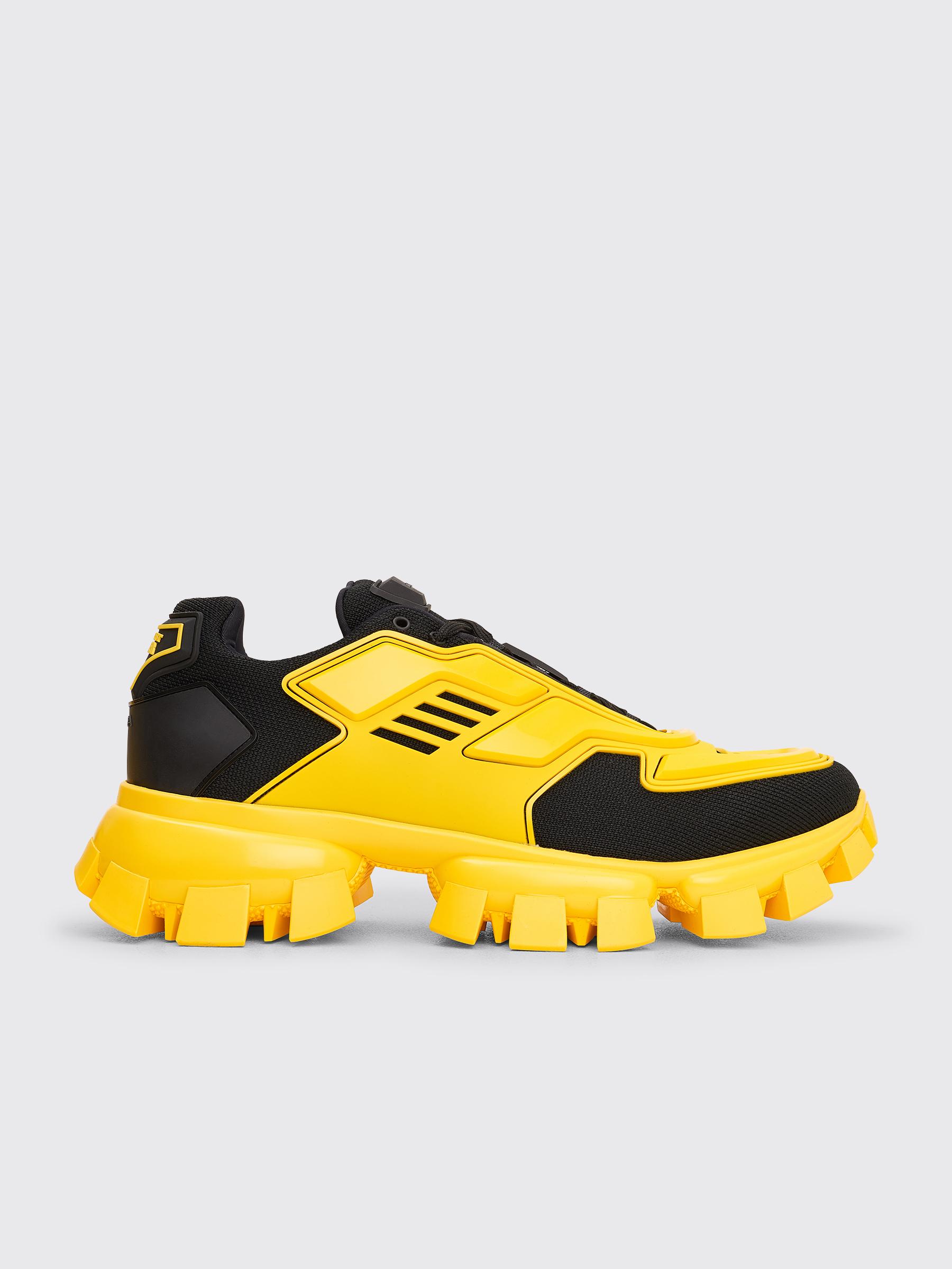 Prada Cloudbust Thunder Knit Sneakers Black Yellow