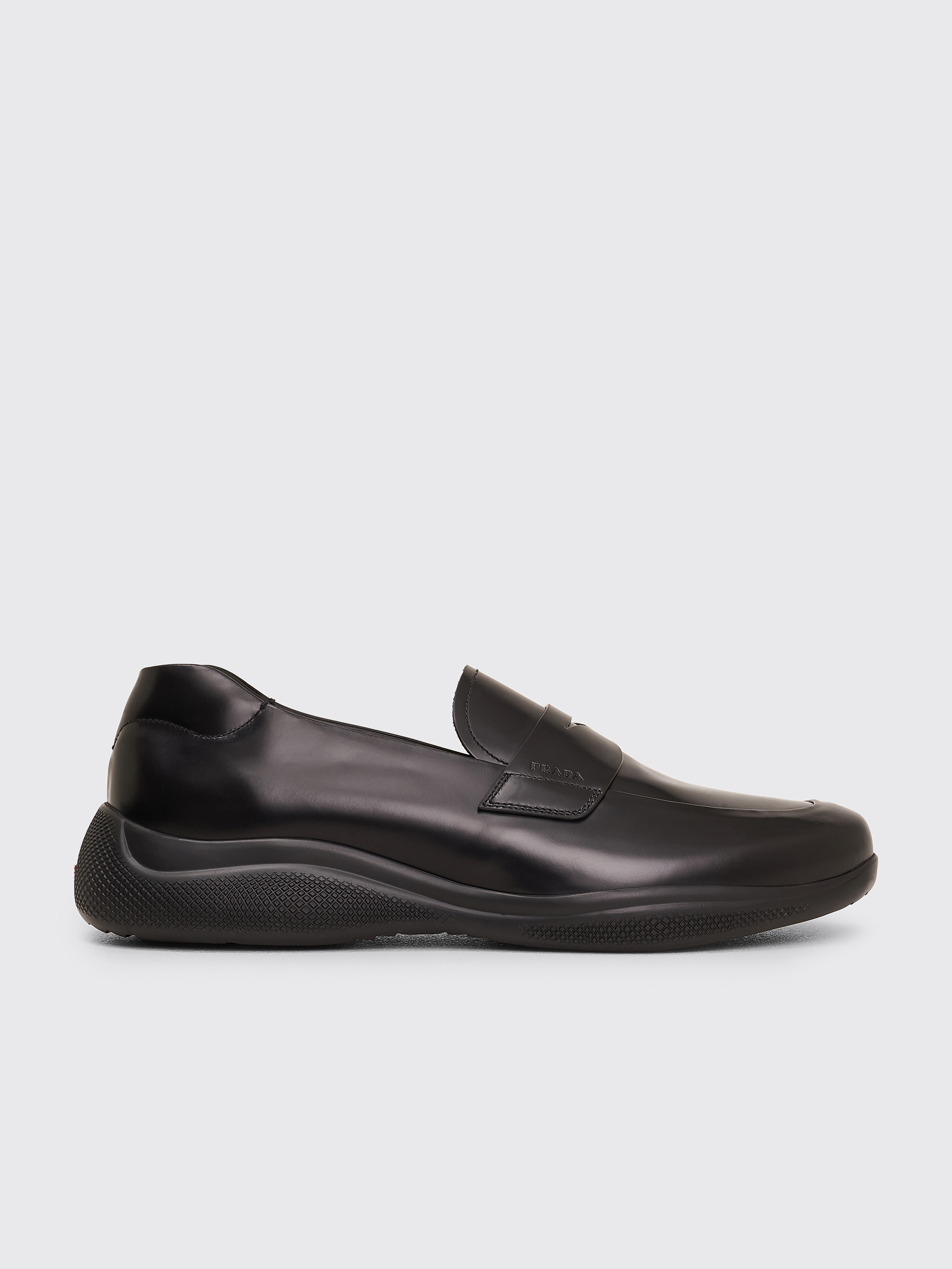 Prada Brushed Leather Sport Loafers Black