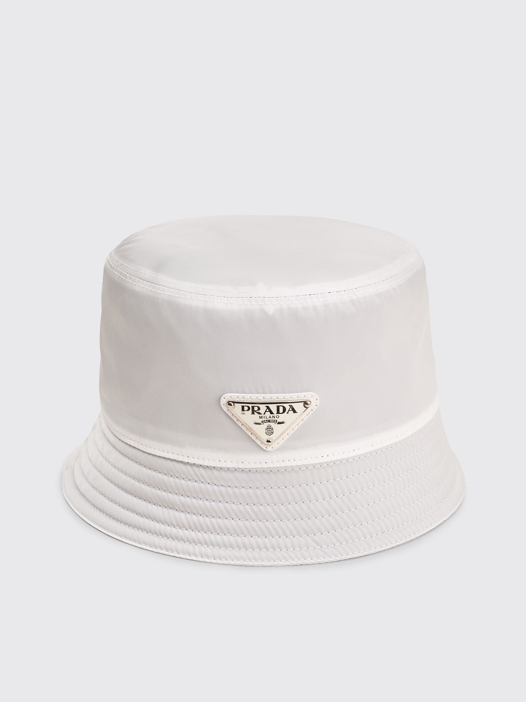 926621204aff Très Bien - Prada Nylon Bucket Hat Triangle Logo White