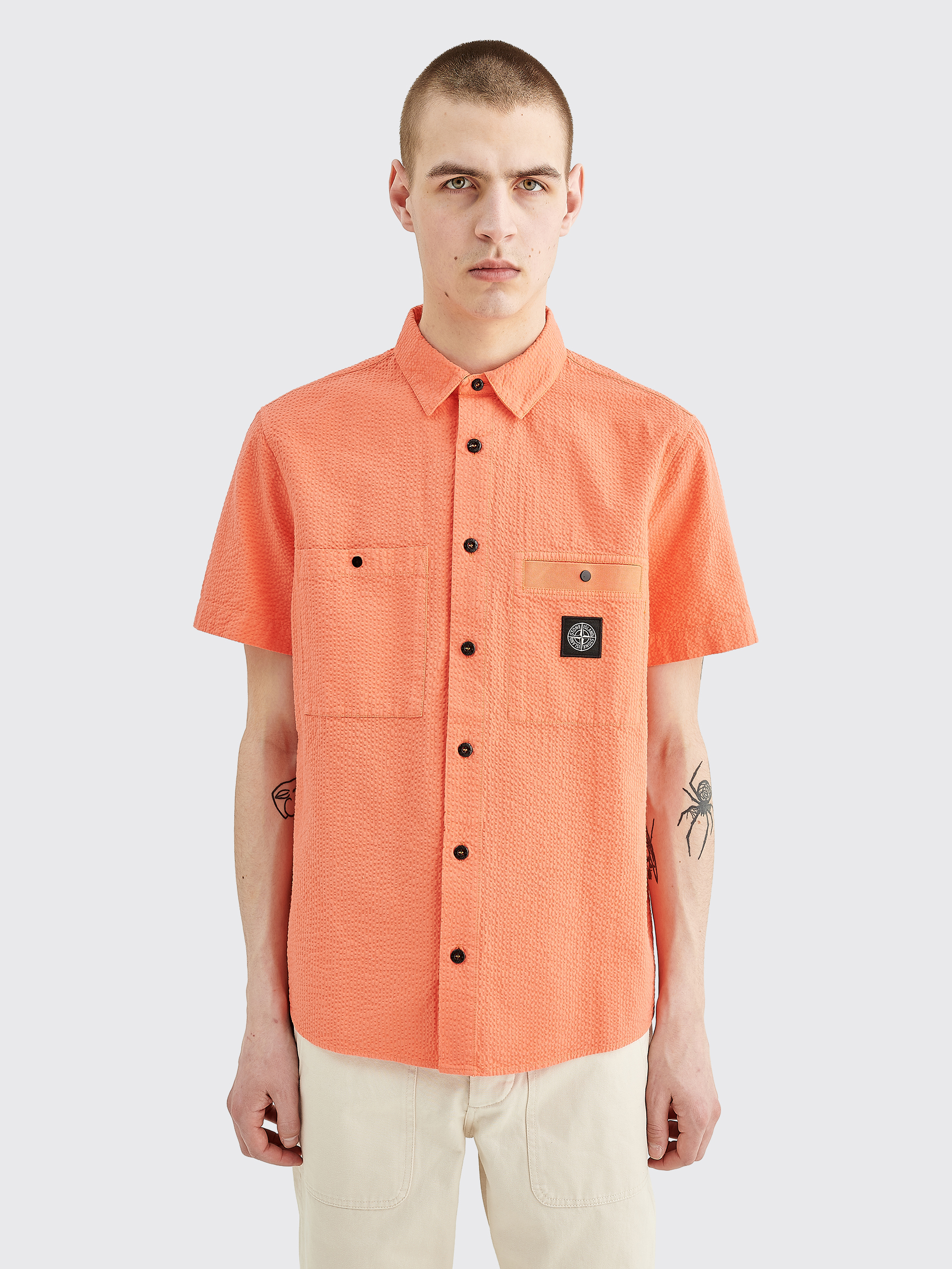 Tres Bien Stone Island Seersucker Shirt Orange